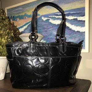 Coach Black Patent zip-top Tote